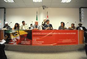 Vitor sapienza, Simão Pedro, Leci Brandão e representantes de entidades