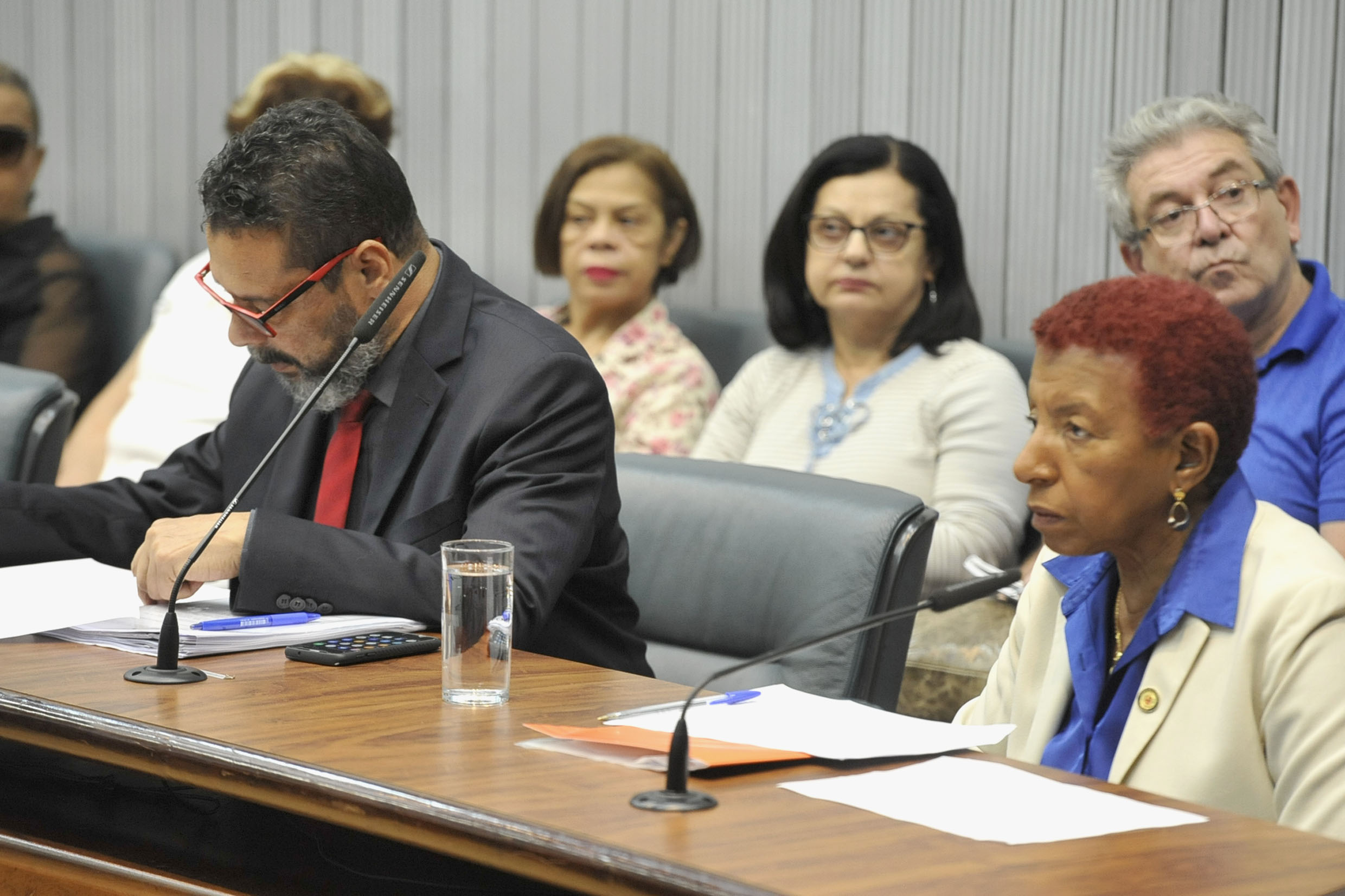 Parlamentares na comissão<a style='float:right' href='https://www3.al.sp.gov.br/repositorio/noticia/N-05-2019/fg233627.jpg' target=_blank><img src='/_img/material-file-download-white.png' width='14px' alt='Clique para baixar a imagem'></a>