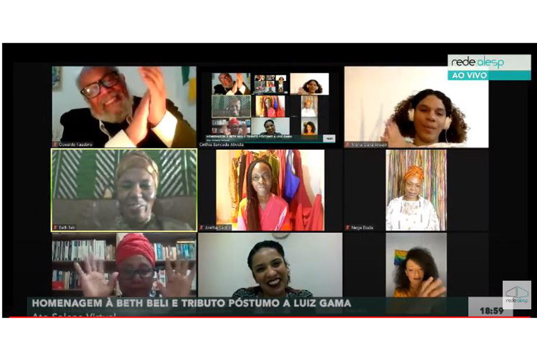 Ato Solene em homenagem a Sra. Beth Beli pelo afro Ilú Obá de Min, e homenagem póstuma a Luiz Gama em ambiente virtual<a style='float:right' href='https://www3.al.sp.gov.br/repositorio/noticia/N-06-2020/fg250549.jpg' target=_blank><img src='/_img/material-file-download-white.png' width='14px' alt='Clique para baixar a imagem'></a>