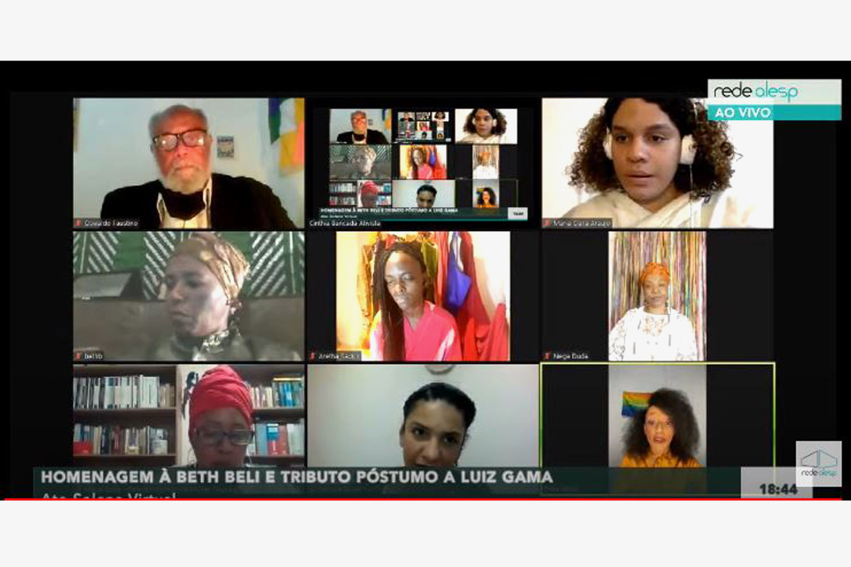 Ato Solene em homenagem a Sra. Beth Beli pelo afro Ilú Obá de Min, e homenagem póstuma a Luiz Gama em ambiente virtual<a style='float:right' href='https://www3.al.sp.gov.br/repositorio/noticia/N-06-2020/fg250552.jpg' target=_blank><img src='/_img/material-file-download-white.png' width='14px' alt='Clique para baixar a imagem'></a>
