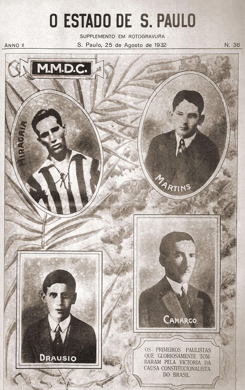 Capa do Jornal O Estado de São Paulo: mártires da Revolução Constitucionalista de 1932<a style='float:right' href='https://www3.al.sp.gov.br/repositorio/noticia/N-07-2016/fg192514.jpg' target=_blank><img src='/_img/material-file-download-white.png' width='14px' alt='Clique para baixar a imagem'></a>