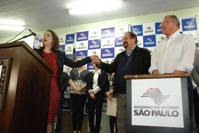 Patrícia Landgraf, Aldo Demarchi e Geraldo Alckmin.