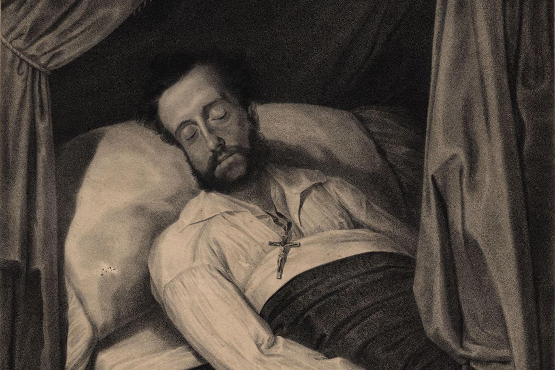 Pedro em seu leito de morte em 1834, por José Joaquim Rodrigues Primavera<a style='float:right' href='https://www3.al.sp.gov.br/repositorio/noticia/N-09-2016/fg194376.jpg' target=_blank><img src='/_img/material-file-download-white.png' width='14px' alt='Clique para baixar a imagem'></a>