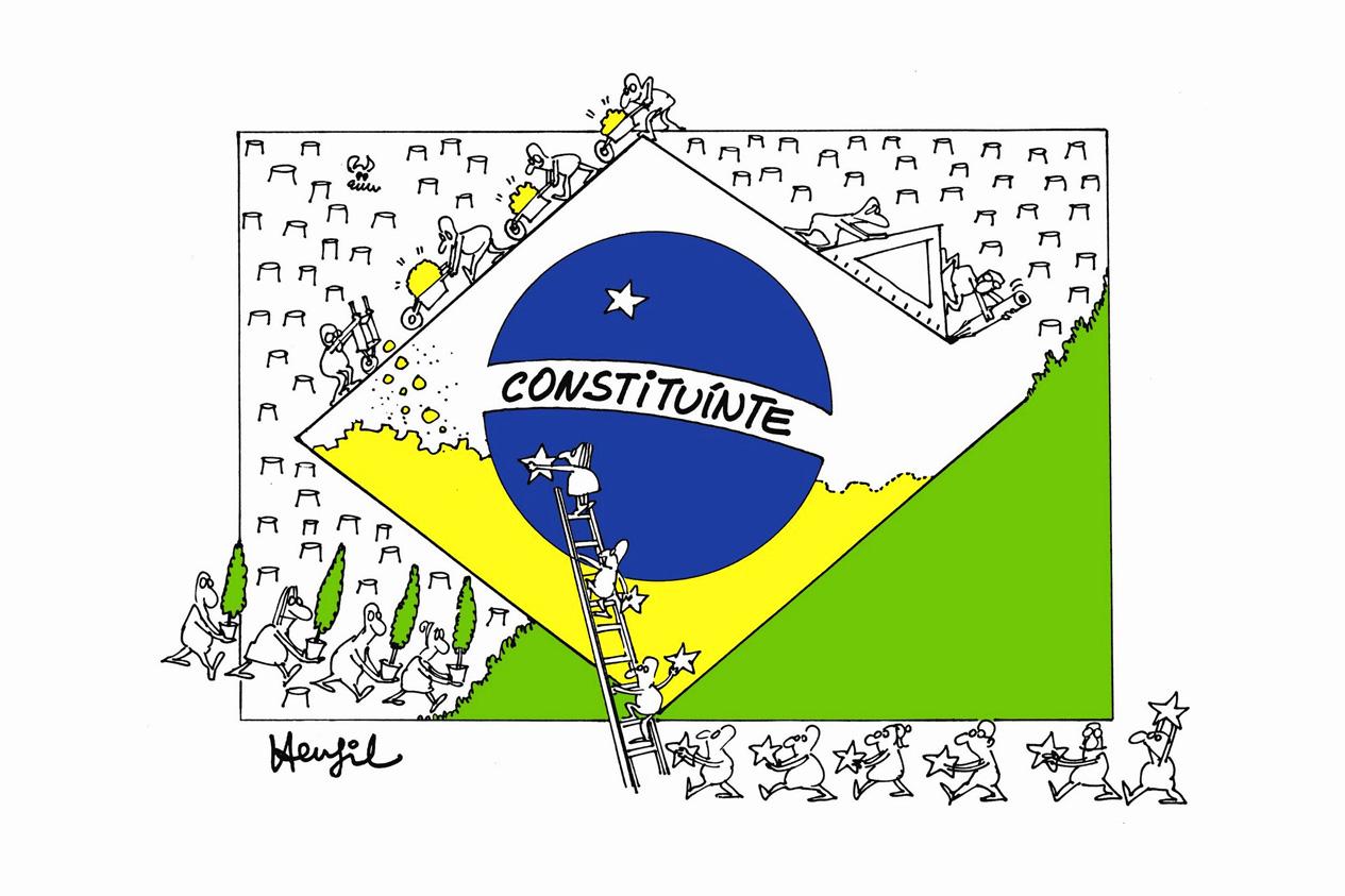 A Constituinte federal na visão do cartunista e jornalista Henfil, um dos mais ardorosos defensores das liberdades democráticas e o primeiro a chamar o movimento pelas eleições diretas para presidente de Diretas Já.<a style='float:right' href='https://www3.al.sp.gov.br/repositorio/noticia/N-10-2014/fg165492.jpg' target=_blank><img src='/_img/material-file-download-white.png' width='14px' alt='Clique para baixar a imagem'></a>