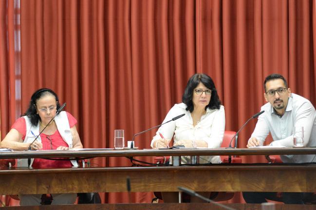 Maria Stela Graciani, Beth Sahão e Carlos Eduardo da Silva, durante debate na Comissão de Educação e Cultura