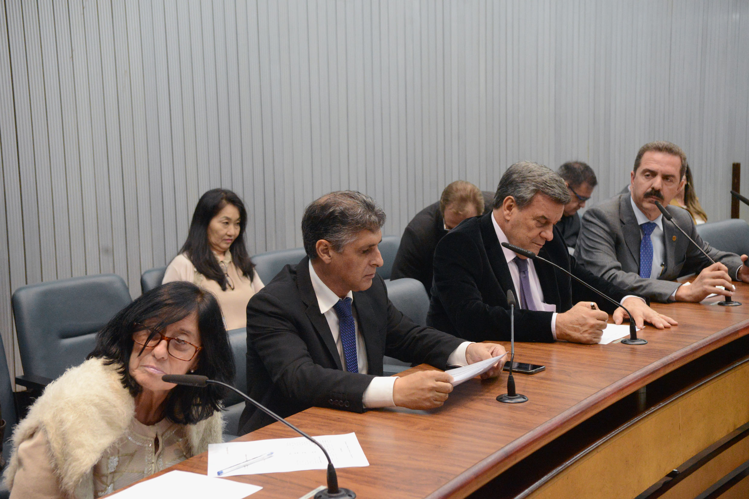 Parlamentares na comissão<a style='float:right' href='https://www3.al.sp.gov.br/repositorio/noticia/N-11-2018/fg227241.jpg' target=_blank><img src='/_img/material-file-download-white.png' width='14px' alt='Clique para baixar a imagem'></a>