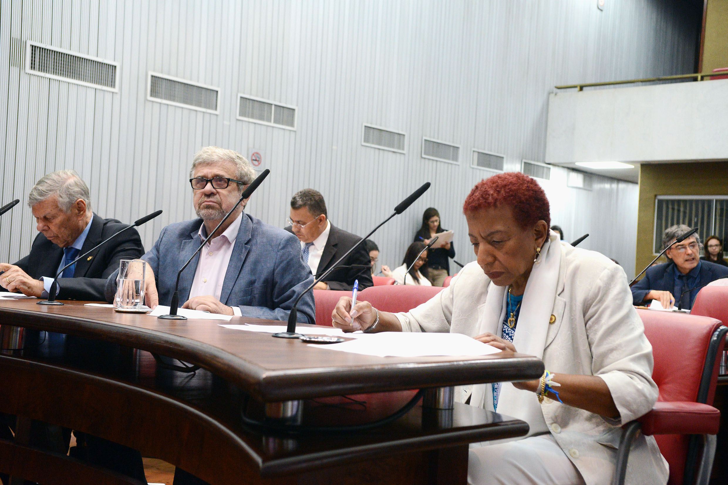 Parlamentares na comissão<a style='float:right' href='https://www3.al.sp.gov.br/repositorio/noticia/N-11-2018/fg228016.jpg' target=_blank><img src='/_img/material-file-download-white.png' width='14px' alt='Clique para baixar a imagem'></a>